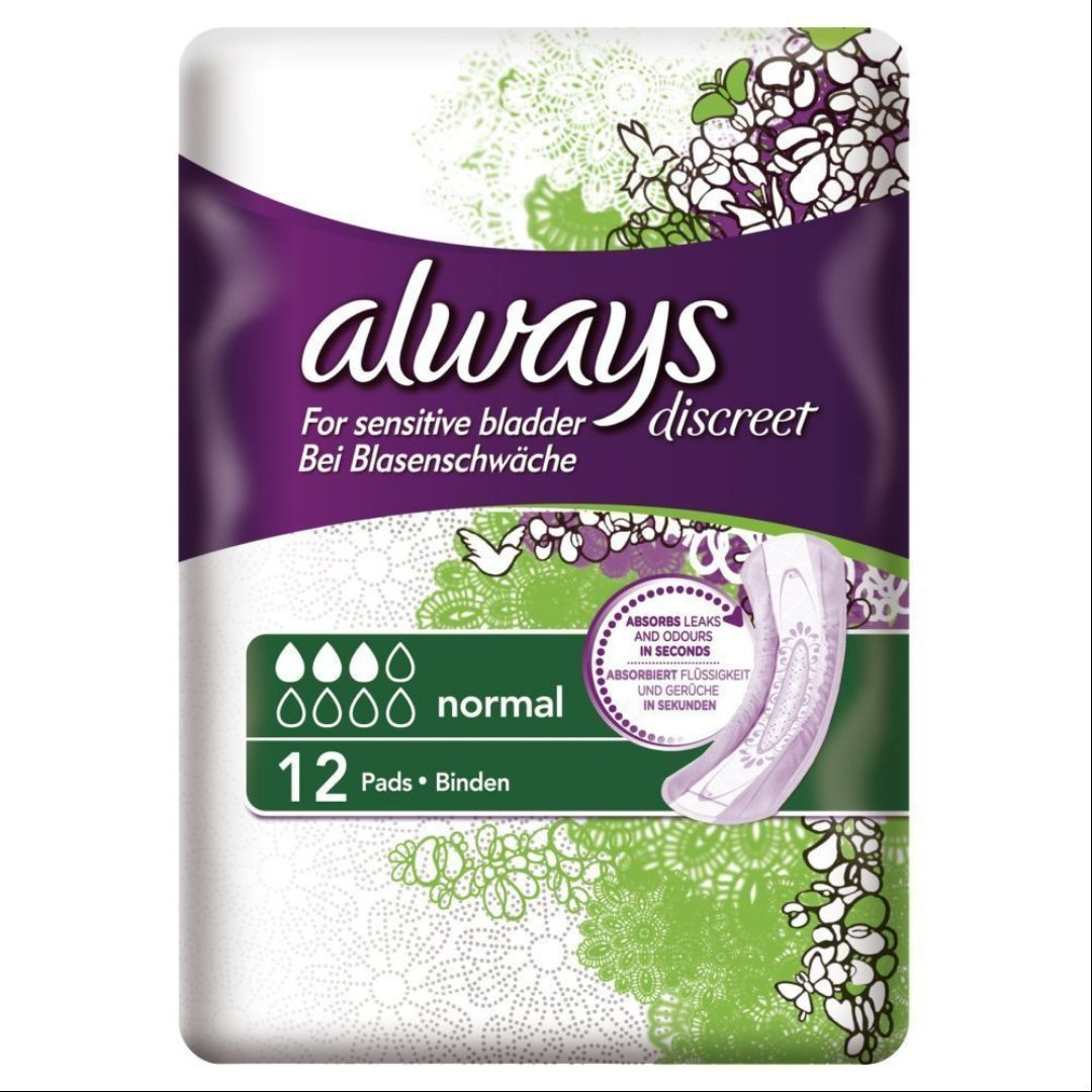Always Discreet Incontinence Pads Normal For Sensitive Bladder X 12