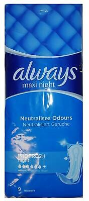 Always Maxi Profresh Night Sanitary Towels Without Wings 9 Pads