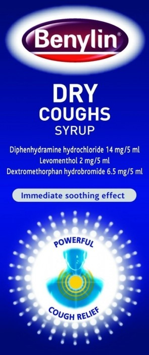Benylin Dry Coughs Syrup Diphenhydramine Hydrochloride 14mg/5ml Dextromethorphan Hydrobromide 6.5mg/5ml Levomenthol 2mg/5ml 125ml