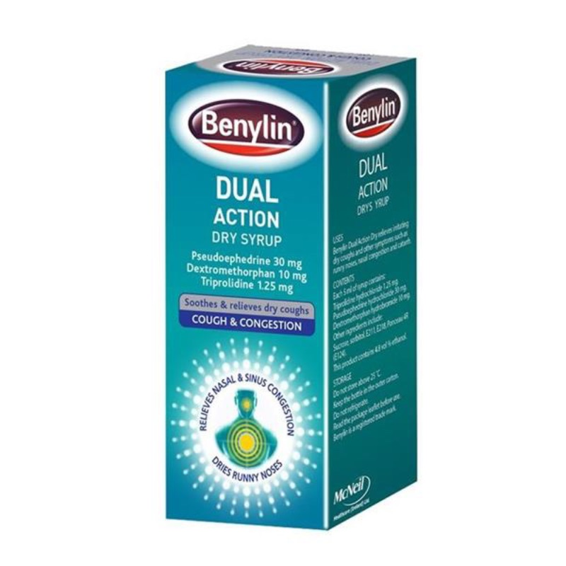 Benylin Dual Action Dry Syrup, Pseudoephedrine 30mg, Dextromethorphan 10mg, Triprolidine 1.25mg 100ml