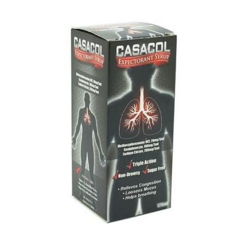 Casacol Expectorant SyrupMethoxyphenamine Hydrochloride 20 Mg/5 Ml Guaiphenesin 100 Mg/5 Ml Sodium Citrate 200 Mg/5 Ml
