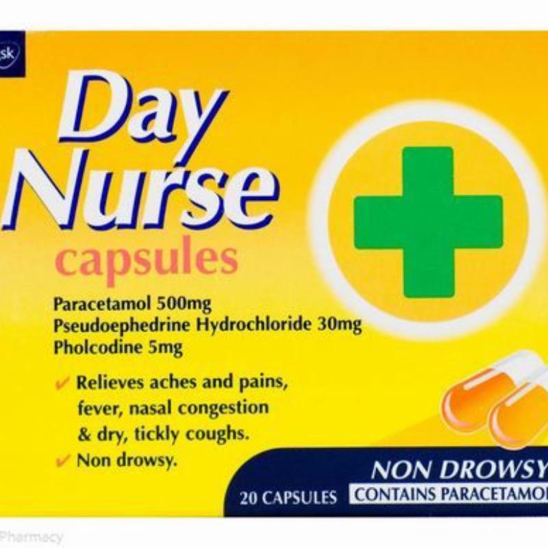Day Nurse Capsules Paracetamol 500mg Pseudoephedrine Hydrochloride 30mg Pholcodine 5mg 20Pk