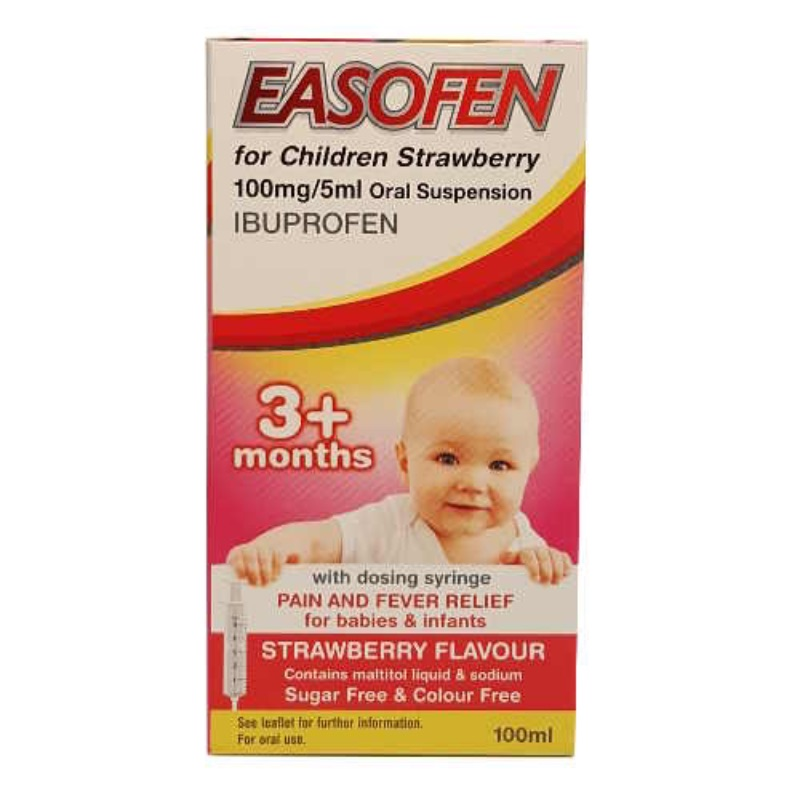 Easofen For Children Strawberry 100mg/5ml Oral Suspension