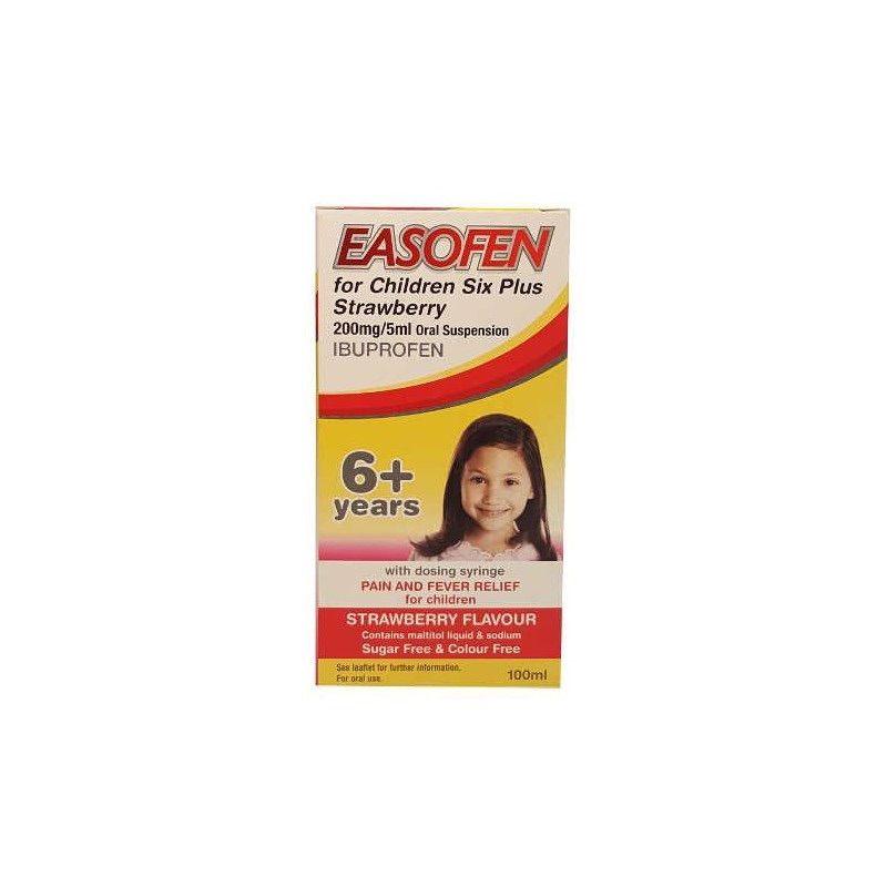 Easofen For Children Six Plus Strawberry 200mg/5ml Oral Suspension