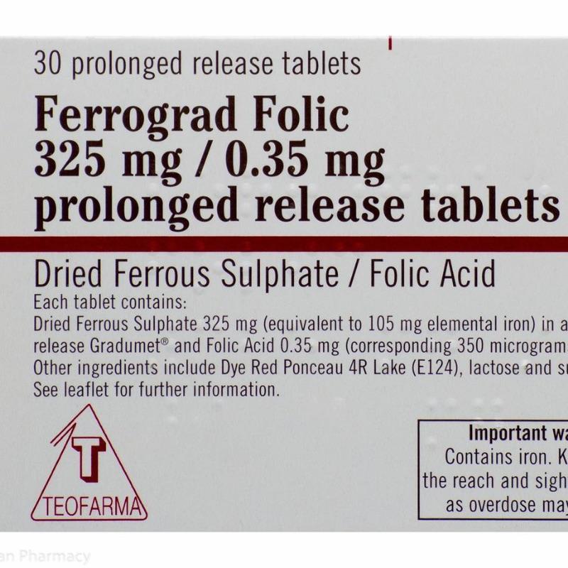 Ferrograd Folic 325mg/0.35mg Prolonged Release Tablets 30Pk