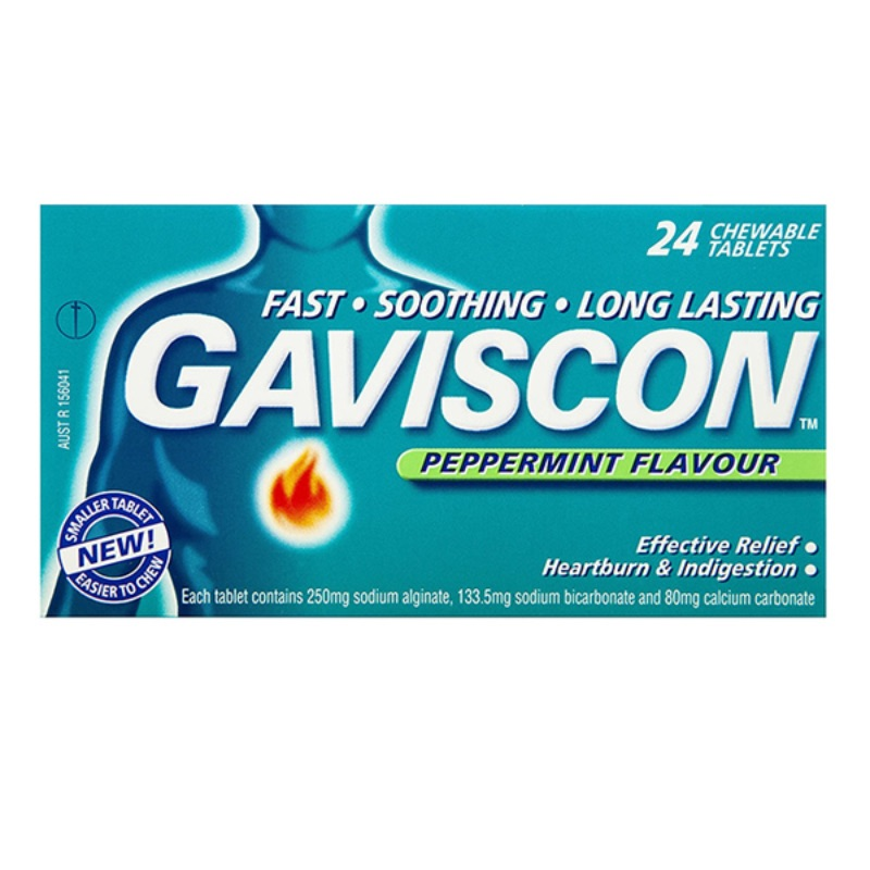 Gaviscon Peppermint Chewable Tablets Sodium Alginate 250mg Sodium Hydrogen Carbonate 133.5mgCalcium Carbonate 80mg