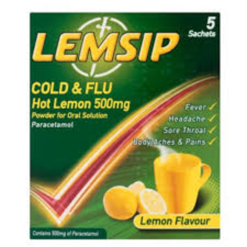 Lemsip Cold & Flu Hot Lemon 500 Mg Powder For Oral Solution