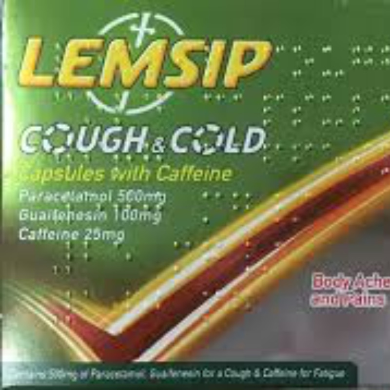 Lemsip Cough And Cold Capsules With CaffeineParacetamol 500mgGuaifenesin 100mgCaffeine 25mg 12Pk