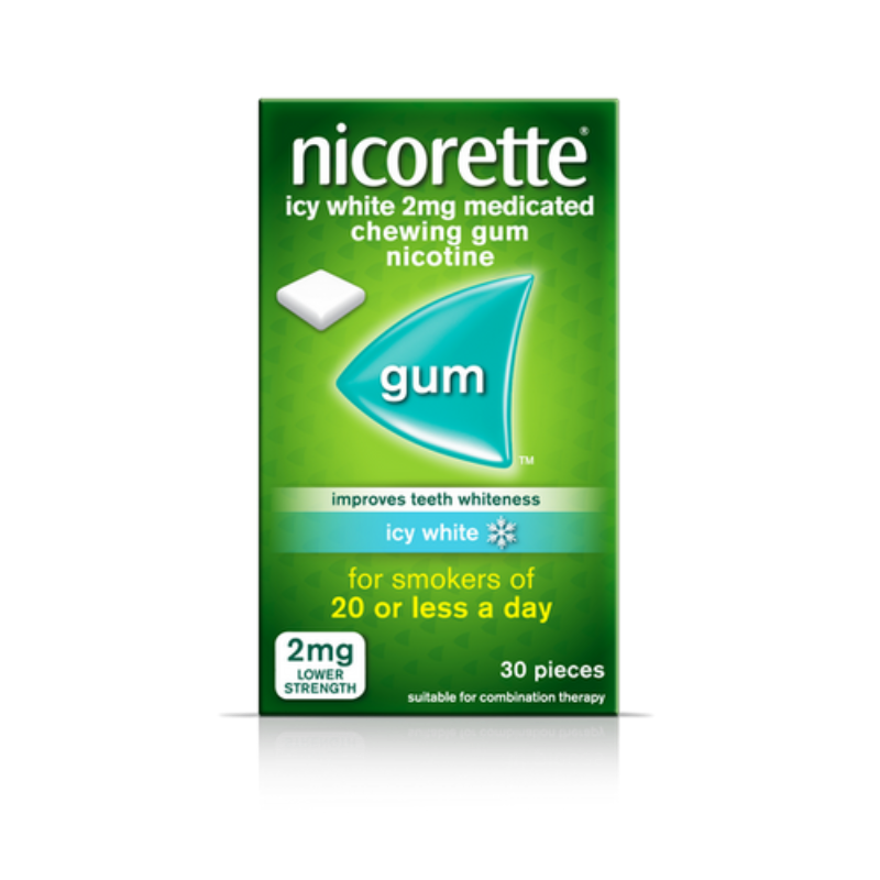 Nicorette Icy White 2mg Medicated Chewing Gum