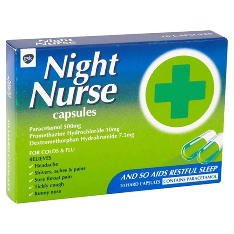 Night Nurse Capsules Paracetamol 500 Mg Promethazine Hydrochloride 10 Mg Dextromethorphan Hydrobromide 7.5 Mg 10Pk