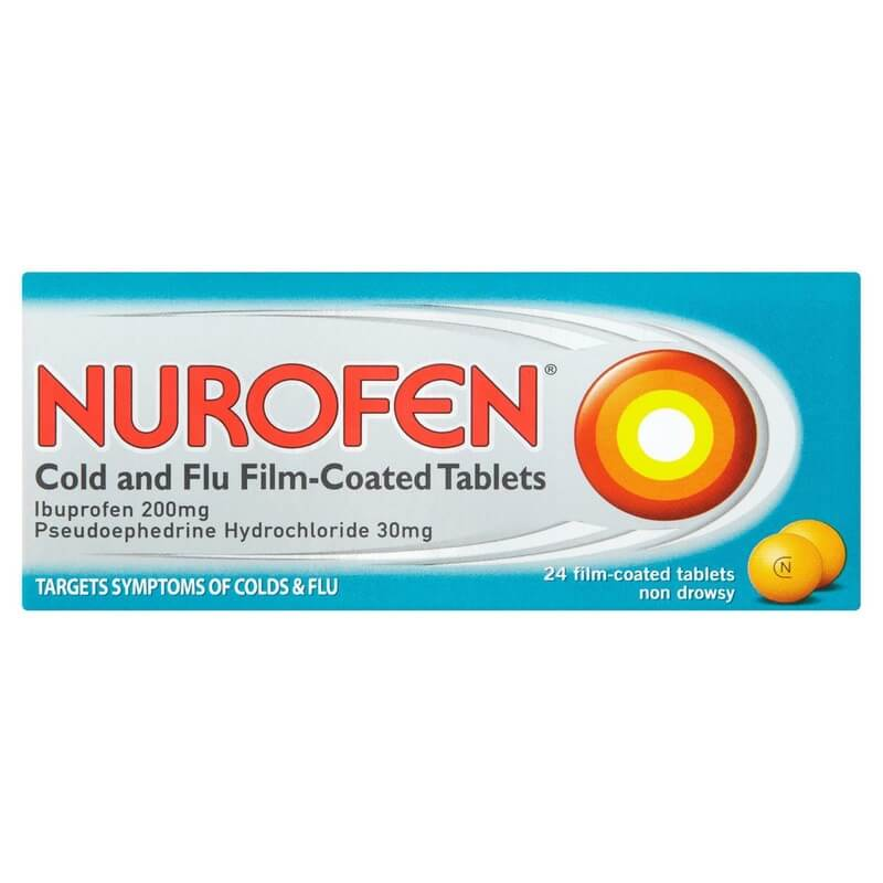 Nurofen Cold & Flu Film-coated Tablets Ibuprofen 200mg Pseudophedrine Hydrochloride 30mg