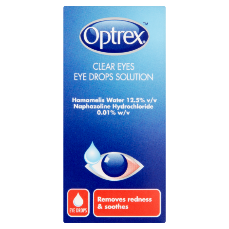 Optrex Clear Eyes Eye Drops Solution Hamamelis Water 12.5% V/vNaphazoline Hydrochloride 0.01% W/v 10ml