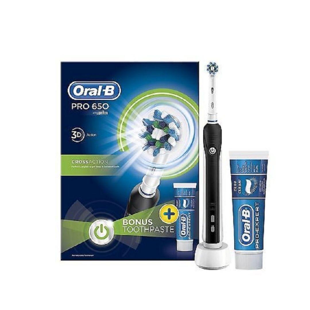 Braun Oral-B Pro 650 Black Electric Toothbrush & Paste