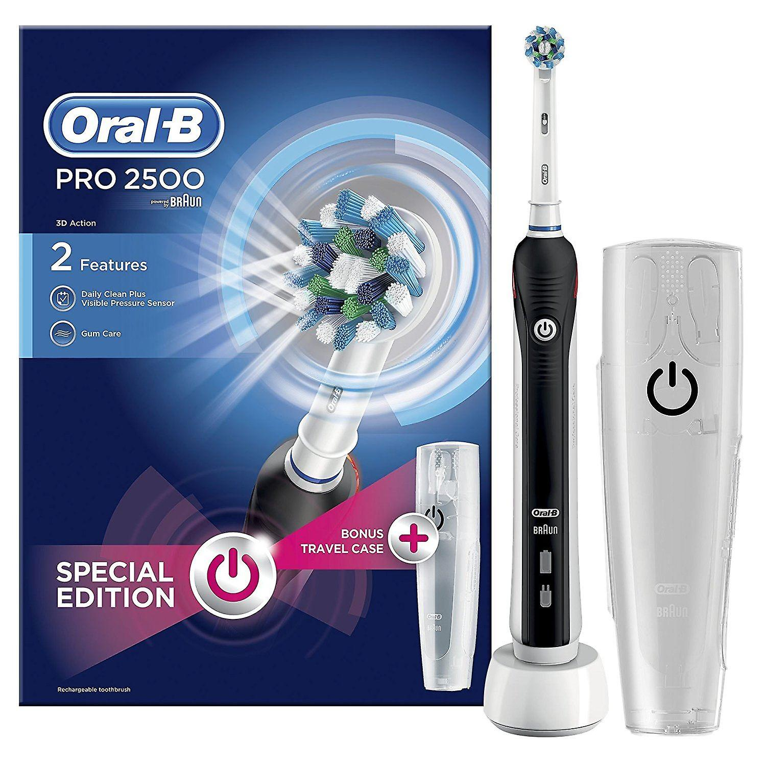 Oral B Pro 2 2500 Black Electric Toothbrush With Travel Case