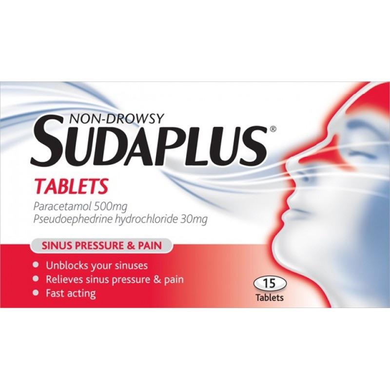 Non-Drowsy Sudaplus Tablets Paracetamol 500mg Pseudoephedrine Hydrochloride 30mg 15Pk
