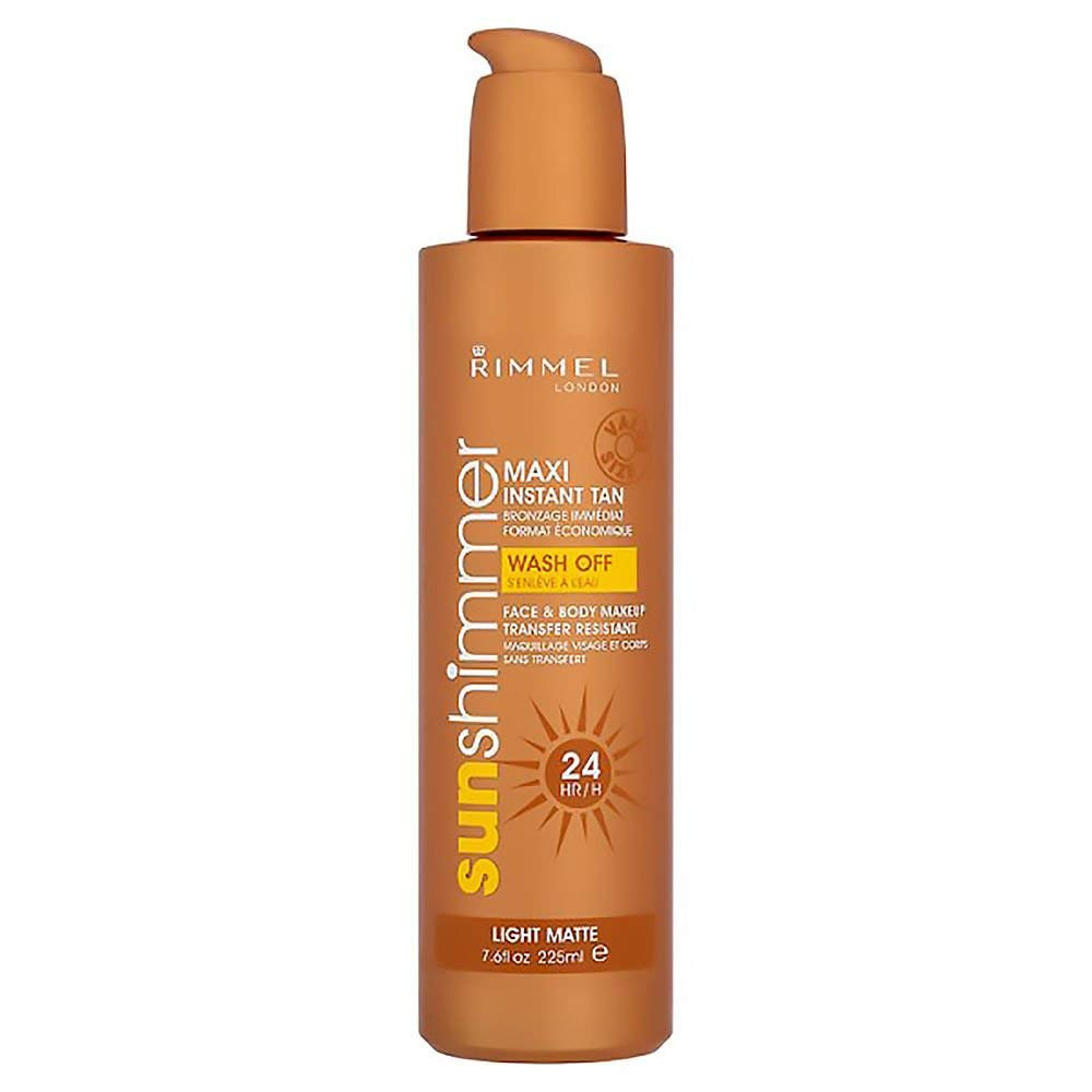 Rimmel Sunshimmer False Tan Maxi Instant Self Tan Face And Body Medium Matte 225ml (Wash Off)