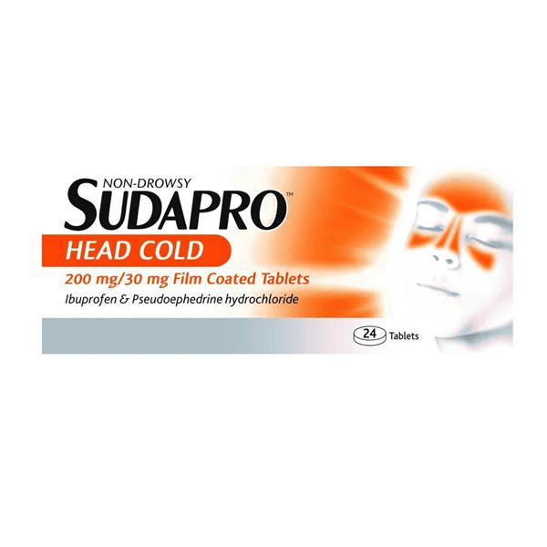 Non-Drowsy Sudapro Head Cold 200mg / 30mg Film-coated Tablets