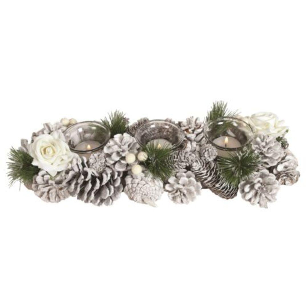 Christmas Wreath Triple Tea Light Candle Holder White