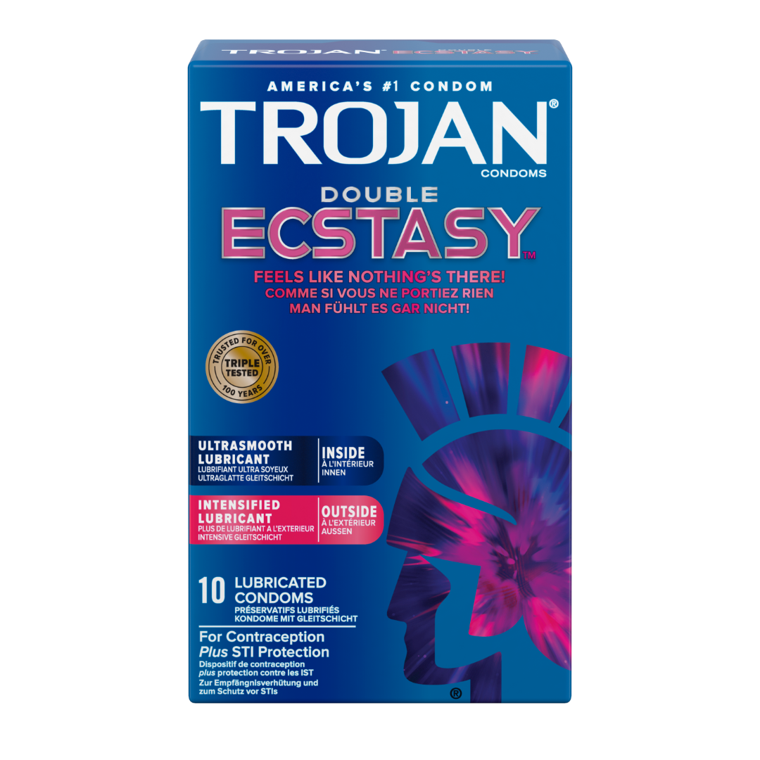 TROJAN® Double ECSTASY™ Lubricated Condoms 10 Pack