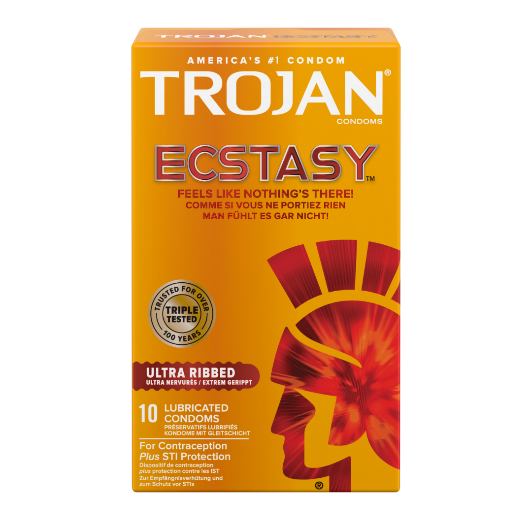 TROJAN® Ultra Ribbed ECSTACY™ Lubricated Condoms 10 Pack