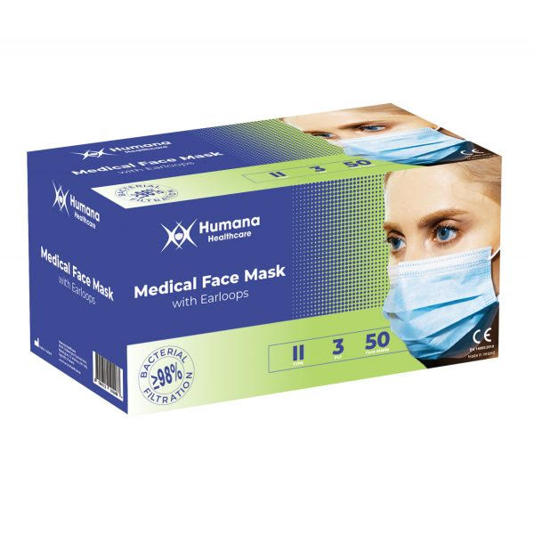 Face Mask Disposable 50 Pack Humana