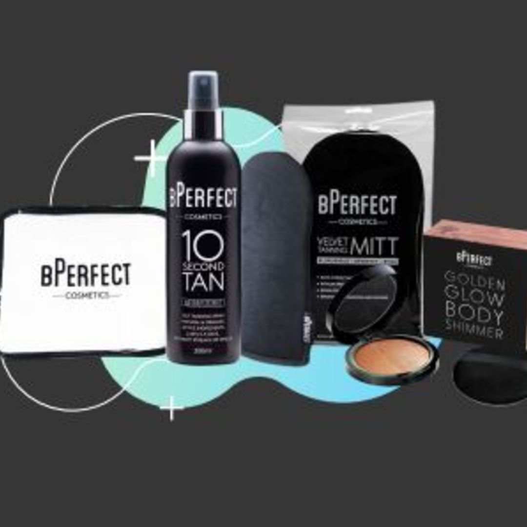 Bperfect Bundle One – 10 Second Coconut Spray, Velvet Mitt, Cosmetic Bag & Body Shimmer