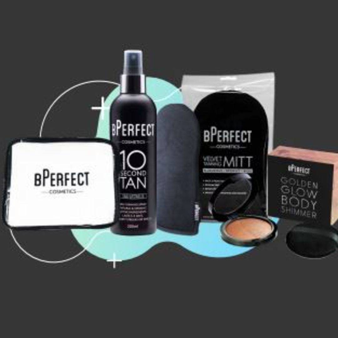 Bperfect Bundle Two – 10 Second Dark Watermelon Spray, Velvet Mitt, Cosmetic Bag & Body Shimmer